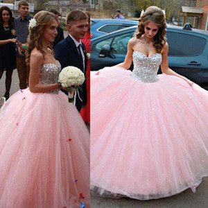 2016 New Pink Ball Gown Prom Quinceanera Dresses Sweetheart Long Tulle Beading Sweetheart Floor Length Formal Pageant Party Dresses BA1877