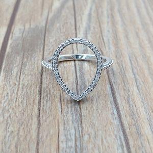 Cristal de prata esterlina 925 Teardrop silhueta do anel, Clear Cz único estilo europeu jóia de Pandora 196253CZ