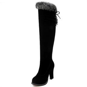 Venda quente de inverno chegam novas mulheres botas zíper rebanho preto sobre as botas até o joelho lace up super alta senhoras botas