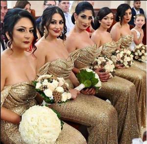 2019 Fora Do Ombro Bling Bling Lantejoula Sereia Da Dama De Honra Vestidos Querida Sexy Plus Size Festa Prom Vestidos de Honra Da Empregada Doméstica Personalizado