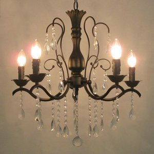 For Foyer living room bedroom dinning room use matt black vintage black chandelier crystal LED Pendant light