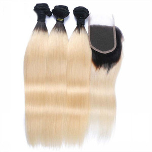 Brazilian Ombre 3Bundles With Closure #1B 613 Two Tone Hair Weaves With Closure 9A Grade Silky Straight Blonde Hair With Closure