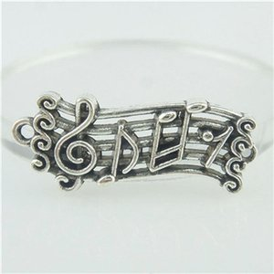16414 15PCS Vintage Stave Staff Note Music Bracelet en argent Sterling Fit Fit