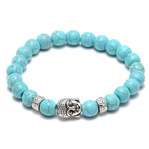Natural Lava Stone Turquoise Prayer Beads Charms Pulseras Antifatiga Silver Buddha Volcanic Rock Hombres Difusor de la Mujer Joyería