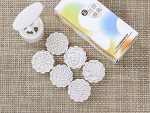 50g runde Form musikalische Note Blume Blatt patte Mond Kuchen-Formen mit 6 Briefmarken Plastikhanddruck chinesischer Mondkuchenform, 20sets / lot.