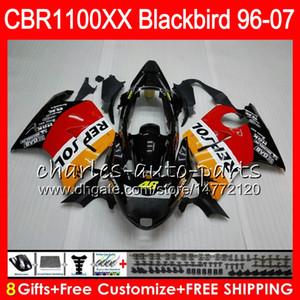 Cuerpo para HONDA Blackbird CBR1100 XX CBR1100XX 96 Repsol naranja 97 98 99 00 01 81HM3 CBR 1100 XX 1100XX 1996 1997 1998 1999 2000 2001 Carenado