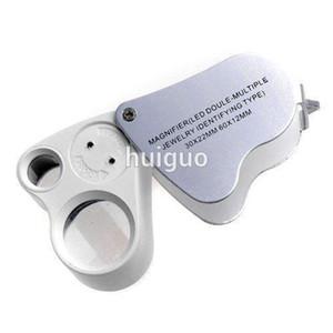 240pcs double loupes de bijoux 30x 22mm 60x 12mm loupe en verre loupe avec loupe LED microscope pliant loupes 9889 gros