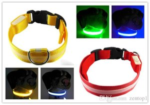 Flashing Led dog collars leashes universal Optical fiber led leashes feed dog accessories pet supplies XS S M L