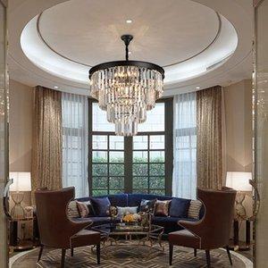 Американский черный утюг искусство хрустальные люстры rblown стеклянная люстра ustic хрустальная люстра спальня лампа, дым серый Кристалл лампа