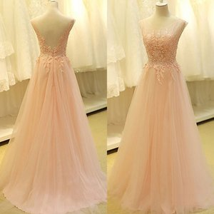 Fabulous High Quality A Line Backless Prom Dresses Sheer Scoop Neckline Blush Pink Soft Tulle Exquisite Lace Appliques Beads Evening Gowns