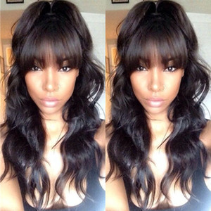 Brazilian Natural Body Wavy Full Lace Wig With Bangs Lace Front Human Hair Wig Full Bangs Natural Color for Black Women