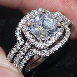 Moda mujer Plaza CZ Diamond Gemstone Ring Set Jewelrys Lujo 10KT oro blanco lleno de anillos de boda eternos para mujeres 3 en 1