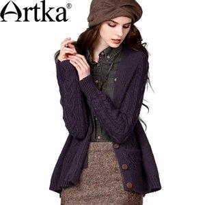 Al por mayor-Artka Otoño Mujer Slim Fit Casual todo-fósforo lana gruesa suéter cardigan WB18334D