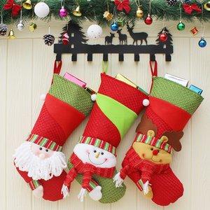 3 Pcs / New Year Meias de Natal Meias Papai Noel Doces Grande Saco Do Presente Xmas Tree Decor Pingente Festival Party Ornament