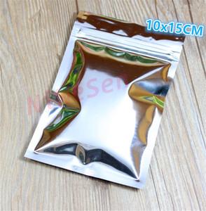10x15cm, 100pcs / lot X Argent placage feuille d'aluminium Zip Lock sacs - Mylar feuille sachets en plastique refermable fermeture à glissière clip joint d'étanchéité