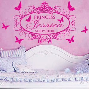 New Princess Sleeps Here Custom Name Princess Girl wall stickers for kids rooms home decor wall decoration living room