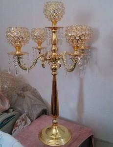 Toptan altın boncuk için cam boncuk kristal mumluk dekorasyon