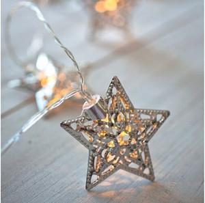 Batteria a LED bianco caldo stringa di luci 10 metallo stella stringa decorazione luce per il festival di Halloween festa di Natale di nozze (argento)