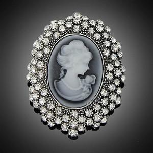 Mode Antique Argent Plaqué Vintage Broche Broches Femme Marque Bijoux Reine Broches Strass Pour Femmes Cadeau De Noël DHH093