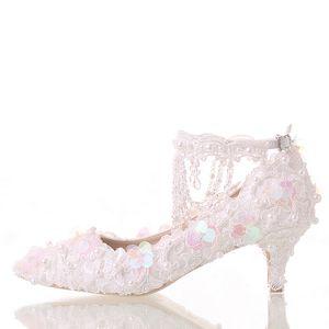 Linda Sapatos Brancos Da Noiva Rendas Plataforma Sapatos Formal Vestido com Tiras No Tornozelo Glitter Lantejoulas Partido Bombas de Baile Dedo Apontado