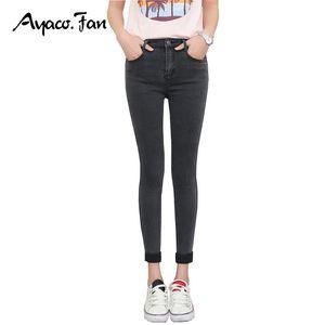Wholesale-2017 Frühlings-Herbst-Frauen knöchellangen Manschetten Schwarze Jeans Students Stretch dünne weibliche dünne Bleistift-Hosen-Denim Damen-Hosen