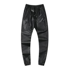 Al por mayor-2016 de la PU de la moda corredores de cuero para hombre Pantalones de cuero de imitación Street Sweatpants hombres Hip Pop Jogging Pantalon Homme Plus tamaño 42, YA061