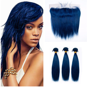 Dark Blue Straight Human Hair Bundles With Lace Frontal Closure 9a Blue Hair 3Bundles With Lace Frontal Malaysian Virgin Hair Weft 4Pcs lot