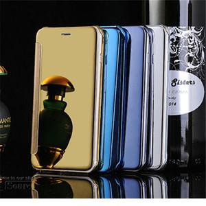 Specchio Slim View caso di vibrazione per iPone 7 7plus 6 6S Galaxy S6 S6 bordo s7 S7edge lusso metallo Placchi casi portafogli in pelle