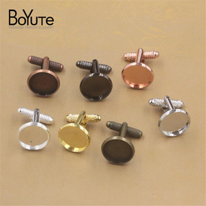 BoYuTe 20Pcs Silver Plated Cufflinks Blank Bezel Tray Round 12MM 14MM 16MM 18MM 20MM Cabochon Base Setting Diy Jewelry Making