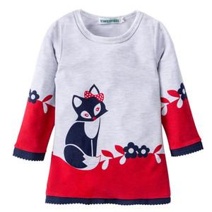 Baby Mädchen Fox Printed Blume Kleider Kleinkind Langarm Spitze PrinzessinKleid Cartoon Baumwolle Tier Mode Kleider