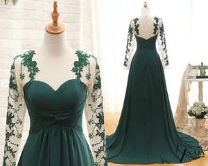 Темно-зеленый шифон Платья для матери невесты на свадьбу Кружевная подметальная шлейф Плюс Размер Халат Простая одежда