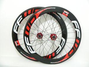 디스크 브레이크 레드 블랙 FFWD의 60mm 바퀴 700C * 23mm 탄소 도로 자전거 클린 처 관 자전거 휠 커플 레드 허브
