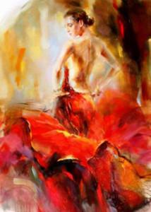 Echtes reines handgemaltes weibliches Porträt-Ölgemälde auf Segeltuch, schöner eindrucksvoller Kunst-Tänzer In Red