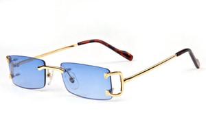 2017 marca designer retro óculos de sol para homens sem aro óculos de armação quadrada azul claro vermelho marrom lentes de ouro e prata óculos de sol de metal