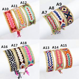 12 colores mezclados estilo vintage de algodón de punto unisex pulseras de la amistad estilo bohemio ginebra oro pulsera de cadena pulsera de la amistad