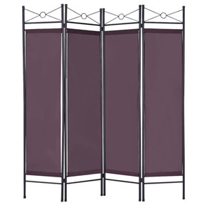 4 Panel Room Divider Privacy Folding Screen Home Office Fabric Metal Frame