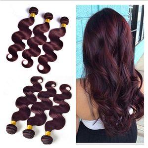 Virgin 페루 와인 Red Hair Bundles # 99J 부르고뉴 페루인 3Bundles Body Wave 물결 모양의 Virgin Remy 인간의 머리카락 Weaves Extensions 3Pcs Lot
