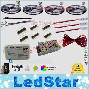 30 m 20 m Bluetooth led şerit RGB RGBW Çift renk kısılabilir 5050 3528 Su Geçirmez + Mi ışık Kontrolörü + Amplifikatör + Güç adaptörü