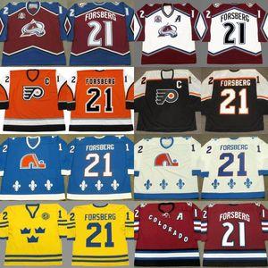 Personalizado retro 21 Peter Forsberg Jersey Colorado Avalanche 1996 2001 2002 2010 Philadelphia Flyers 2006 Quebec Nordiques 1994 Jersey