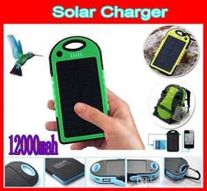 Carregador de bateria solar banco de potência 12000mah impermeável à prova de choque carregadores solares à prova de poeira 2-port painel solar bancos de energia da bateria 5 CORES
