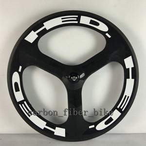 T700C 도로 자전거 앞 바퀴 70mm 트라이 스포크 휠 700C (3)는 클린 처 탄소 휠 3K 광택 흰색 데칼을 이야기