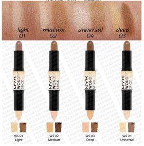 12pcs lot Free Shipping NYX Wonder Stick Concealer Eye Face Makeup Cover Women Med Tan Highligher Light Deep Medium Universal 4 Colors