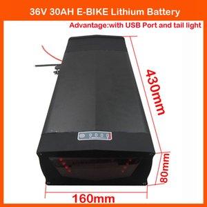 Batería de litio para bicicleta eléctrica de 1000W 36V 36V 30AH Uso para celdas ICR18650-30B 3000 mah Con puerto USB y luz trasera 30A BMS 2A cargador