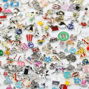100pcs lot Different Designs Metal Alloy Floating Charms for Floating Memory Living Locket Pendant