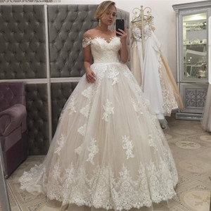 Off Shoulder Sweetheart Lace Ball Gown Wedding Dresses Plus Size Vintage Sweep Train Bridal Dresses Wedding Gown From China