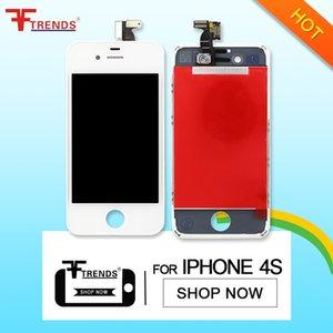 für iPhone 4 4S LCD-Anzeigen-Touch Screen Analog-Digital wandler Vollversammlung-preiswerter Preis 35pcs / lot Schwarz-weißes freies Verschiffen