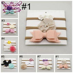 Nishine 3pcs / set Mädchen Spandex Nylon Stirnband Neugeborene Kinder dünnen dehnbare Nicht-Markierung Blumebowknot elastische Haar-Band