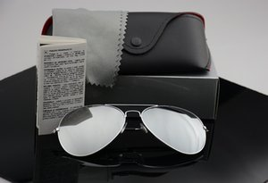 Diseñador de la marca gafas de sol polarizadas Hombres Mujeres gafas de sol uv400 Gafas Piloto montura de metal con piloto Polaroid Lens with Retail Cases