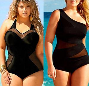 Retro Mulheres Sexy Plus Size Preto One-Piece Acolchoado Swimsuit Bikini Swimwear