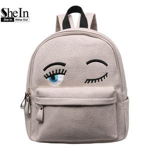 Wholesale-SheIn Hot Sale Women Fashion 2016 New Arrival Cheap Online Shops Bags Eyes Pattern PU Cute Backpack